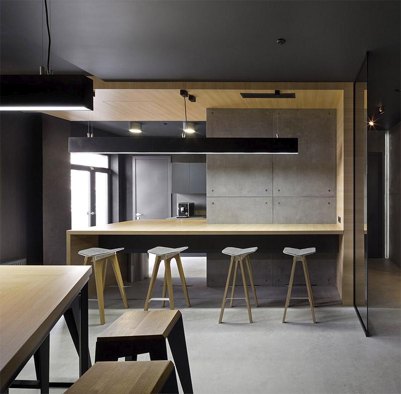 кухня МДФ с зоной бара обшитой ДСП для проекта студии www.incubedesign.com