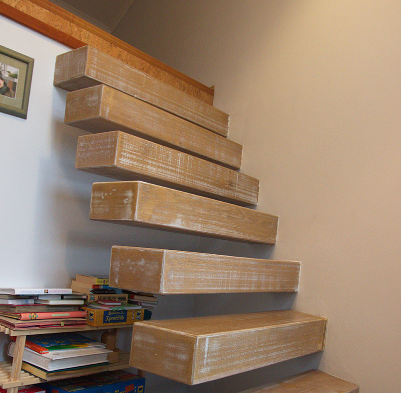 Stairs, steps from solid oak, vintage finish